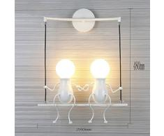 Lampada da parete Applique da parete Industrial Regolabile in Metallo Lampade Da Parete Interno Lampade Rustiche E27 (2-bianco)