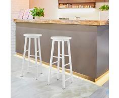 WOLTU Sgabelli da Bar con Poggiapiedi Seduta Tonda Sedia Alta per Cucina in Acciaio Legno BH130ws-2