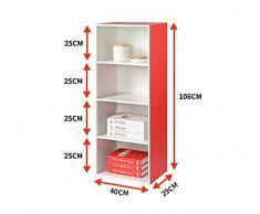 SESO UK- Armadietti di stoccaggio a pavimento di moda 4 Libreria Libreria a piattaforma rossa vetrina d'angolo rossa