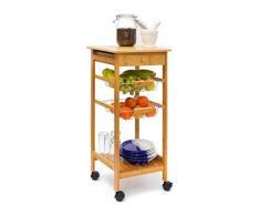 Relaxdays -Carrello da Cucina Modello James S in Legno di Bambù con Ruote Piroettanti & H X B X T: 80.5 X 37 X 37 cm