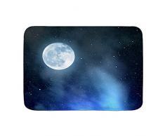 DECISAIYA Antiscivolo Zerbino,Cielo notturno con le stelle Luna piena Universo Spazio Corpi celesti Serata romanticaassorbe lacqua Morbido tappeti da esterno Tappetino per Ingresso, Bagno,Cucina