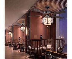 ▶ * Ventilatore a soffitto con Lampada Camera da Letto Moderno Stile Cinese Fan Light Creativity Lampadari Sala da Pranzo Illuminazione Lampade e Lanterne Diametro 107Cm Wall Control ◀