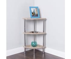Moderno scaffale ad angolo mensola bagno rack Storage System vetrina, Legno, Beige, 3 Shelf