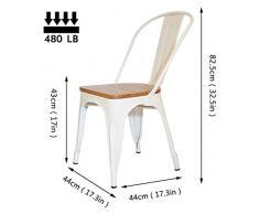 FANGYU Chair Set di 4 Colori Bianchi Sedia da Pranzo in Metallo Sedia in Legno massello impilabile Sedia da Cucina in Stile Antico