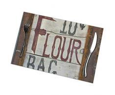 Not Applicable Place Mats Bakers Vintage Old Flour Sale Tovagliette Antiche Tavolo da Pranzo Set Natalizio di 6 Tovagliette Lavabili San Valentino Vacanze di Pasqua 30X45Cm