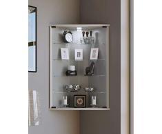 VCM flandu vetrina angolare, imitazione struttura legno, bianco, taglia unica