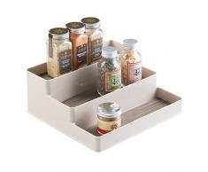 InterDesign Twillo Portaspezie con 3 ripiani | Contenitore spezie per erbe, olio, aromi, ecc. | Organizer spezie da sistemare su un ripiano della cucina | Plastica color champagne