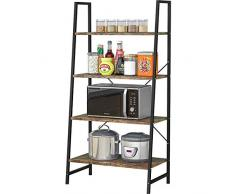 Plasaig - Scaffale a scaletta resistente, 64 x 35 x 129 cm, scaffale industriale a 4 ripiani per soggiorno, camera da letto, cucina