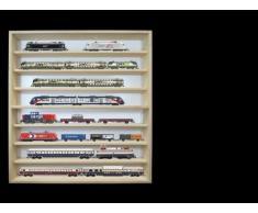 Alsino V40 Vetrina espositiva   60 x 75,5 x 8,5 cm   in legno di betulla non trattato   8 ripiani   2 vetri plexiglass scorrevoli   Modellismo   Collezionismo   Scala N e H0