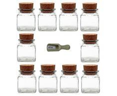 Viva Haushaltswaren 10 vasetti porta spezie da 120 ml, con tappo in sughero e paletta in legno da 7,5 cm
