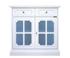 Credenza laccata con vetri blu, mobile in stile classico con ante e cassetti