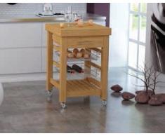 Carrello di servizio per cucina in legno con 1 cassetto e 2 cesti