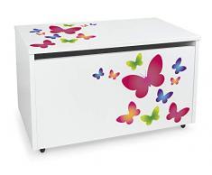 Leomark Contenitore portagiochi in legno, Grande baule per giocattoli, panca su ruote, scatola con coperchio, cassapanca per bambini, dimensioni: 71 cm x 40,5 cm x 45 cm (LxPxA) (Farfalle)