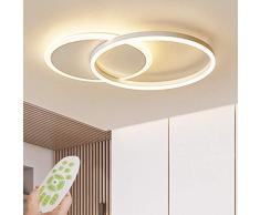 JDDSA 2 Fiamme Plafoniera LED 36W Dimmerabile Soffitto Lamp Moderno Design Lampada Sospensione Tondo Telecomando Soggiorno Camera da Letto Cucina Light Sala da Pranzo Ufficio Lampadari 55cm Bianco