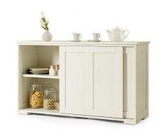 DREAMADE Armadietto da Cucina Mobile Multiuso per Sala da Pranzo con Ante Scorrevoli, in MDF Resistente (Bianco Crema)