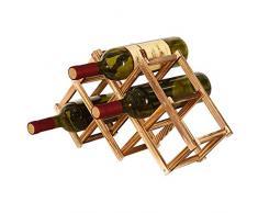 Portabottiglie Vino Pieghevole in Legno, Portabottiglie da Cucina, Espositore per Vino, Portabottiglie Diamond per Bar, Cantina, Armadietto, Dispensa (6 Bottiglie)