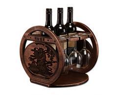 Portabottiglie da tavola,Soggiorno sala da pranzo con decorazione antica scolpita vino rack in legno massello, resistente e a prova di umidità (3 bottiglie di bicchieri di vino 3 vino),With cup