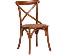Sedia Thonet in massello di frassino e seduta rattan finitura noce 46x42x86 cm