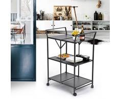 FURNISH 1 Carrello Carrello Cucina Pieghevole 3 piani, metallo grigio antracite Ruote girevoli