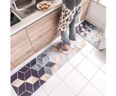 LWZ-tappeti Tappetini per tappeti da Cucina Impermeabile in Metallo con Motivi Geometrici semplici Tappetini da Bagno Area di Corsa Pad d'ingresso Tre Dimensioni Facoltativo (Dimensioni : 45x75cm)