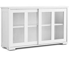 DREAMADE Armadietto da Cucina Mobiletto per Sala da Pranzo con Ante Scorrevoli, in MDF (Bianco Crema)