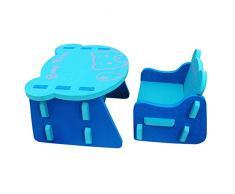 meiqicool Childrens New Animal Eva Puzzle Set di Tavolo e Sedia Bambini mobili ZY17QSL