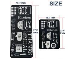 LEEBEI Tappeti da Cucina Bedroom Mats Tappetini Antiscivolo per Cucina Tappeti per Zona(23.6 × 15.7 Pollici + 47.2×15.7 Pollici) (Kitchen-Meal)