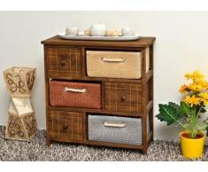 Mobiletto in stile rustico con cassettiere e cestini per il bagno,cucina,corridoio e camera da letto