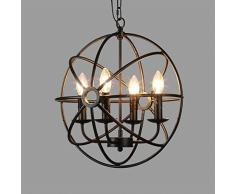 Plafoniera industriale, SUN RUN Creative Retro 4 Head Light Fixture Lampadari Vintage Metal Lampada a sospensione con finitura dipinta per Sala da pranzo Cucina