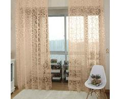 meisijia Nuove lucide floreali Tulle Voile porta sciarpa Valances Drape tende dritte della finestra Beige