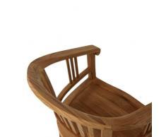 myteak24 poltrona CANTIK colore, non trattato, da giardino, sedia Teak massiccio sedia con braccioli, Teak, IVEY