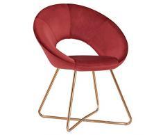 Duhome Sedia da Sala da Pranzo Sedia di Sala dattesa conferenza Design Straordinario con Piedini in Metallo Sedia Imbottita 439D, Colore:Rosso, Materiale:Velluto
