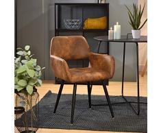 Furnish1 - Sedia scandinava, per sala da pranzo, in similpelle, vintage, metallo, design per soggiorno, ufficio, camera da letto