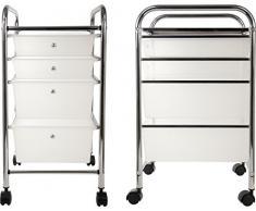 Servire e carrello cassetto carrello armadio con rotelle e ideale per cucina, bagno, ufficio, salone di bellezza parrucchiere. In acciaio INOX e plastica cassetti, 4 x Drawer