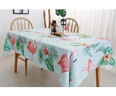 Drizzle Tovaglia Fenicottero Rosa Foglie di Palma Tropicale Tavolo Panno Cotone Poliestere Cucina Soggiorno Rettangolare Piazza (51 * 86in/130 * 220cm)