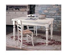 Bagno Italia Tavolo in Legno massello di pioppo allungabile 160x85 Arte povera Bianco con 3 sedie I
