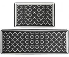 Pauwer 2 tappetini da cucina antifatica comfort resistenti antiscivolo impermeabili antimacchia tappeto da cucina tappeto e tappeti (44 x 70 cm + 44 x 120 cm)