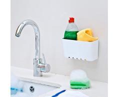 Mensola da cucina, porta-spugne, ripiano per lavello, senza fori, con ventosa di aspirazione, portata: 1,5 kg, colore: bianco
