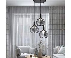 iDEGU - Lampadario a sospensione moderno, a forma di gabbia, da soffitto, per soggiorno, cucina, sala da pranzo, ristorante, diametro 20 cm, colore: nero