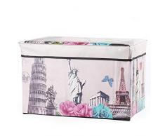 Youngshion sedia pieghevole scatola portaoggetti con coperchio impermeabile stampato modello domestici cestino Container organizer per camera da letto vestiti, Statue of Liberty, 18.9 x 11.8 x 11.8