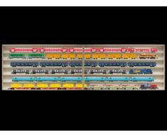 Alsino 2E15ALR Vetrina espositiva   250 cm x 58 cm x 10,5 cm   in legno di betulla non trattato   6 ripiani   4 ante plexiglass scorrevoli   Con Guide   Scala H0 e N