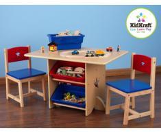 KidKraft 26912 Set Tavolo con 2 sedie Stella in Legno con contenitori, mobili per Camera da Letto e Sala Giochi per Bambini-Rosso e Blu