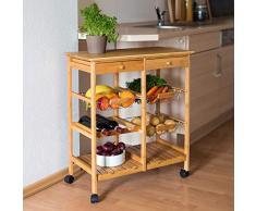 Relaxdays Carrello da cucina modello XXL JAMES in legno di bambu´con le seguenti misure: HBT 80 x 67 x 37 cm con 2 cassetti, 3 cestini, rotelle e spazio ulteriore per piatti e bottiglie di vino