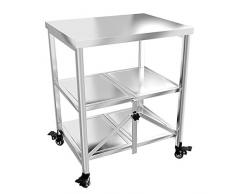 Carrello di Servizio Cucina Mobile Pieghevole Acciaio Inossidabile Rotella Universale con Freno 3 Livelli Conservazione, capacità di Carico 100 kg, 2 Materiali