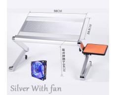 Wuyan Mini scrivania Portatile Magica del Computer con Il Bordo del Topo Tavolo del Computer Portatile modificabile Creativo per Divano/Letto/Viaggio all'aperto Lega di Alluminio, Argento con Ventola