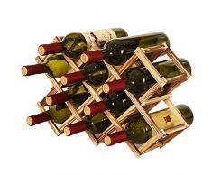 Portabottiglie Vino Pieghevole in Legno, Portabottiglie da Cucina, Espositore per Vino, Portabottiglie Diamond per Bar, Cantina, Armadietto, Dispensa (10 Bottiglie)