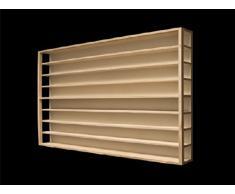 E40AM Elemento Vetrina parte centrale, 60 x 75,5 x 10,5 cm (aperta a sinistra e destra) con scanalature per modellismo scala H0 e N in legno di betulla, con 4 vetri di plexiglas