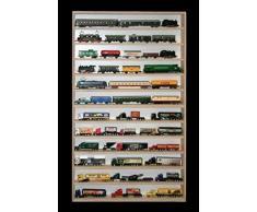 Alsino V91 Vetrina espositiva | 115 x 70 x 8,5 cm | in legno di betulla non trattato | 12 ripiani | 4 ante plexiglass scorrevoli | Modellismo | Collezionismo | Scala N e H0