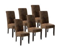 TecTake Set 6X Design Sedia per Sala Cucina da Pranzo Sedie Altezza 106 cm - Disponibile in Diversi Colori - (Marrone Antico | No. 403501)