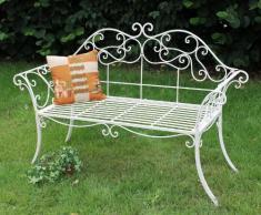Panca da giardino Romance bianca 111183 Panca 146cm in metallo ferro battuto Panca-seduta